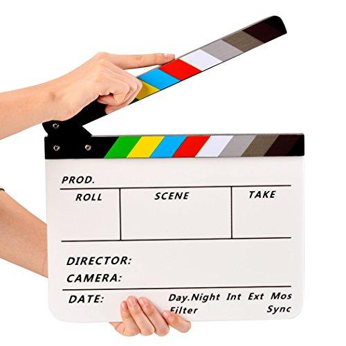 Mini Film Acrylic Clapper Board Dry Erase Director Movie Slateboard Plays Clapboard Cut Prop ()