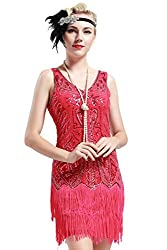 V Neck Beaded Fringed Great Gatsby Dress