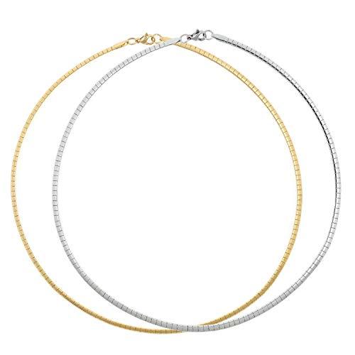 BOUTIQUELOVIN 2 PCS Stainless Steel Omega Necklace Flat Snake Chain covid 19 (Gold Tone Snake Necklace coronavirus)