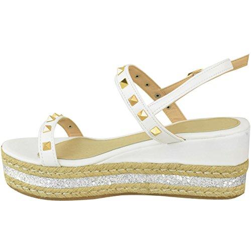 Womens Faux Size Espadrilles Platform Thirsty Wedges White Mid Heel Flatform Glitter Fashion Leather Studded Sandals 5aRnSO