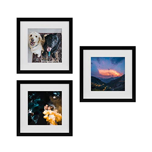 Tiny Mighty Frames - Wood Square Photo Frame, 11x11 (8x8 Matted) (3, Black) - Lab Photo Frame