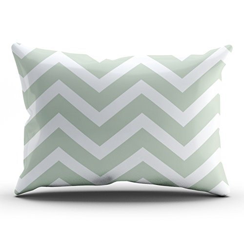 ONGING Decorative Pillowcases Sage Green White Chevron Zigzag Stripes Customizable Cushion Rectangle King Size 20x36 inch Throw Pillow Cover Case Hidden Zipper One Side Design Printed