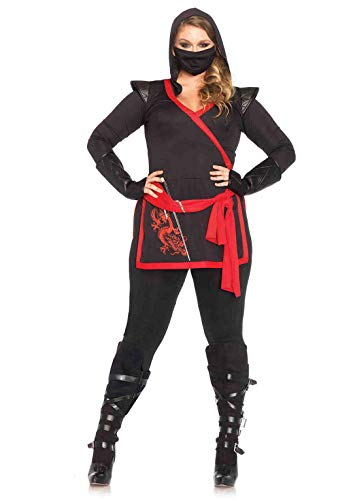 Leg Avenue Women's 4 Pc. Ninja Assassin Plus-Size Costume, Black/Red, 1X/ ()