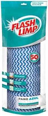 Pano Multiuso Rolo 50 unidades Lavavel Secagem Rápida, Flash Limp, Azul