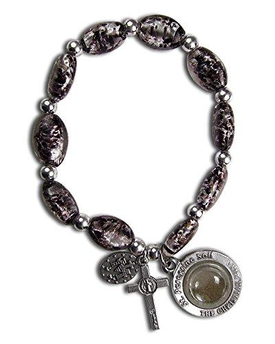 St Peregrine Patron Saint of Cancer Black Murano Stretch Bracelet w/ Capsule of St Peregrine Soil
