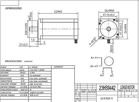 Longs motor 4axis Nema23 stepper motor 425oz 4.2A 23HS9442  CNC Router