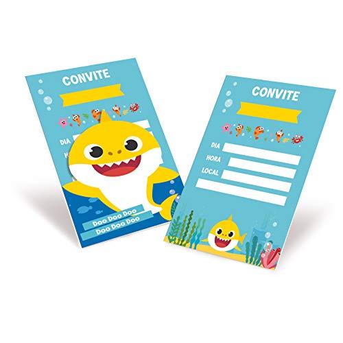 Convite No Tema Baby Shark - Tamanho 10.5 x 13.5 cm com 08 Unidades, Cromus Festas, Azul e Amarelo