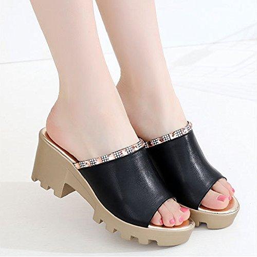 Fashion Peep-Toe Sandals For Women Flat Anti-Slip Crude Heel Slide Black l3NqlvWV1