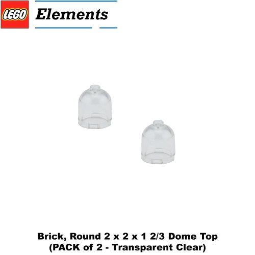 Lego Parts: Brick, Round 2 x 2 x 1 2/3 Dome Top (PACK of 2 - Transparent Clear) (Lego Superman Vs Power Armor Lex compare prices)
