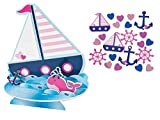 Nautical Table Decorations Centerpiece and Confetti - For Sailor Girl Baby Shower or Birthday Celebration