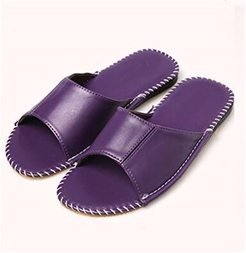 Women Anti Corium TELLW Leather Smelly Cowhide Spring Autumn Floor Wooden Summer Men Pourpre Slippers for W OqdYqR