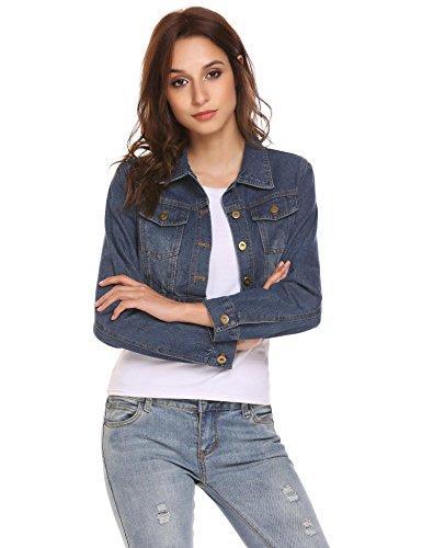 Lungo Jeans Piumino Jeans Tasche Con Scuro Blu Solido Donne Manicotto Camicia Aimage Pulsante dxdw8C1