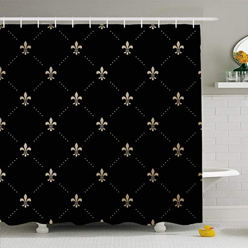Ahawoso Shower Curtain 60x72 Inches Lis Gold Pattern Fleurdelis On Abstract Geometrical Fleur French King Black Flower Lily Design Waterproof Polyester Fabric Bathroom Curtains Set with Hooks