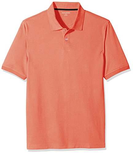 Amazon Essentials Men's Regular-Fit Cotton Pique Polo Shirt, Coral, Large