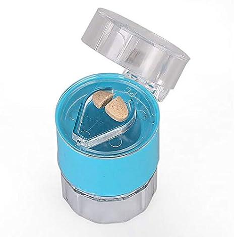 DeroTeno Pill Cutter, 3-in-1 Pill Grinder Crusher Pill Container Pill Splitter (Dark Blue)