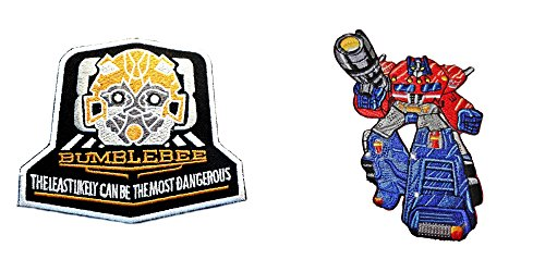 J&C Family Owned Transformers Bumble Bee & Optimus Prime (2-Pack) Embroidered Sew/Iron-on (Transformer Costume Video Bumblebee)