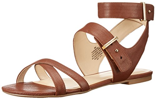 Nine West Women's Darcelle Leather Dress Sandal, Cognac, 8.5 M US (Nine West Flat Sandals Women)