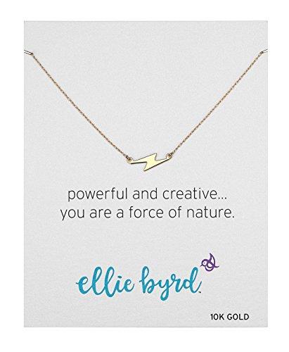 ellie byrd 10k Yellow Gold Sideways Lightning Bolt Necklace, 18