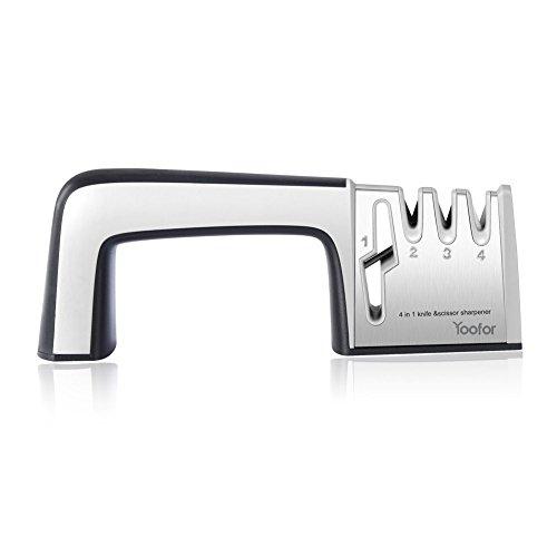 Yoofor Knife Sharpener Scissor Professional 4-In-1 Steel Kitchen Manual System