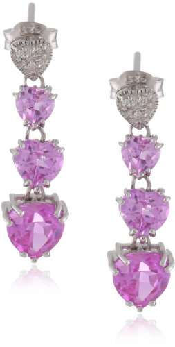 Sterling Silver Heart Shaded Created Pink Sapphire and Ge...