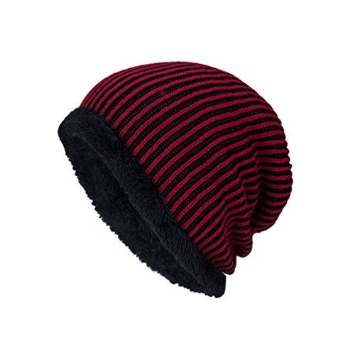 Popular Diseño de Invierno Jacquard Suave Rayas Punto Sombreros Gorro YiJee Rojo Hombre más Vellosidades Vino qv4P0A