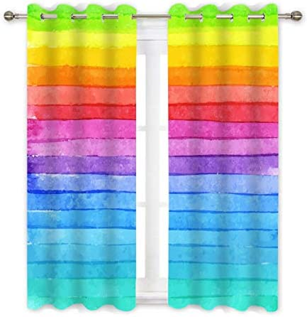 QH Window Curtain Panels Rainbow Colour Pattern Blackout Curtain Panels Thermal Insulated Light Blocking 42W x 84L inch Set of 2 Panels