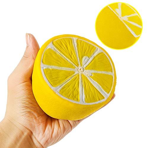 LOTFUN Jumbo Slow Rising Squishies Big Lemon Cakes Squishy Children Cream Scented Charms Kawaii Squishy Slow Rising Toy for Kids and Adults (Yellow Lemon)