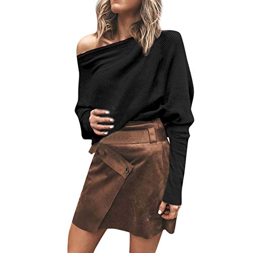 Casual Sweater Blouse Women Sexy Solid Off Shoulder