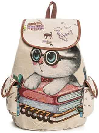 55380a6c64 Classic Wobuoke Women Cute Cat Printing Canvas Drawstring Backpack  Multi-pockets Shopping Bag Travel Bag