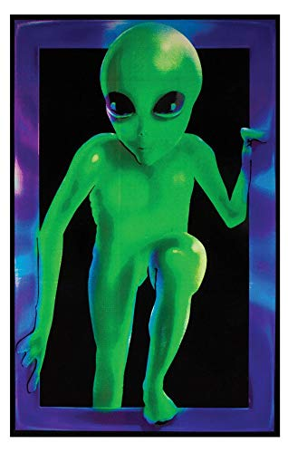 Opticz Alien Visitor Blacklight Responsive Poster Blacklight Poster 23 x 35in -