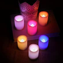 Kohree Set of 6 Multiple Colors Indoor&Outdoor Flameless White Pillar Votive LED Candle Light with Remote Control&Timer Batteries Included