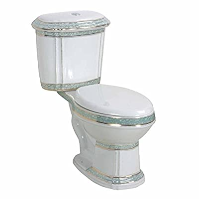 White And Green Porcelain Elongated Dual Flush Toilet Seat Included
