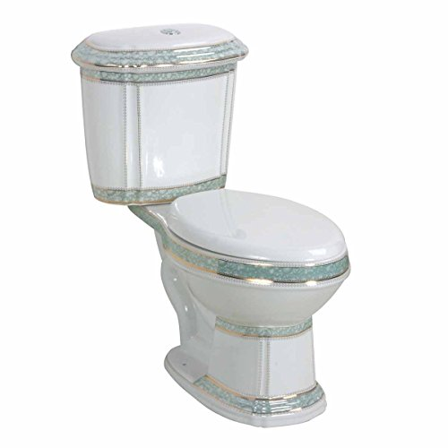 White And Green Porcelain Elongated Dual Flush Toilet Seat Included | Renovator's (Green Two Piece Elongated Toilet)