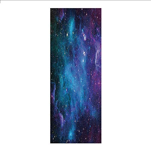 (3D Decorative Film Privacy Window Film No Glue,Space Decorations,Galaxy Stars in Space Celestial Astronomic Planets in The Universe Milky Way Print,Navy Purple,for Home&Office)