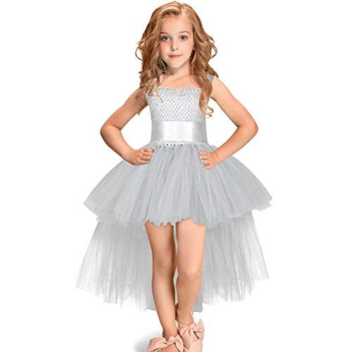 Tsyllyp Girls Princess Dress Sleeveless Tutu Tulle Special Occassion Trailing ()