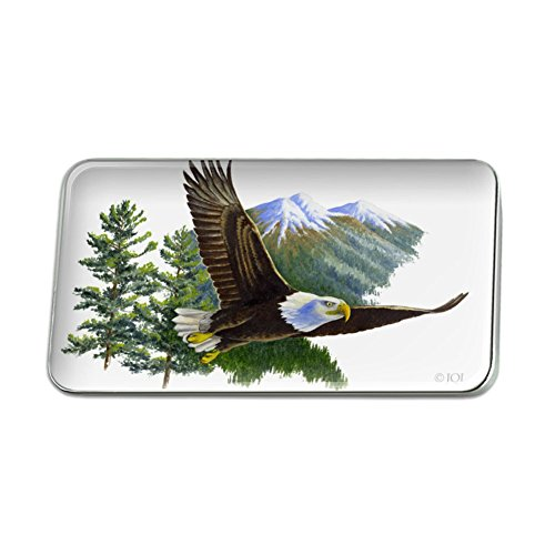 Bald Eagle Flying Over the Mountains Scenic Rectangle Lapel Pin Tie Tack