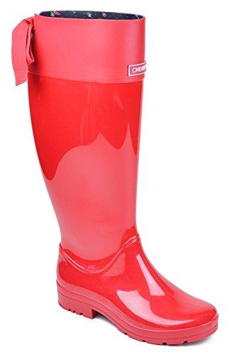 Cherry Fanny Womens Original Tall Winter Waterproof Rain Boots (8) (Womens Rain Cherry Boot)