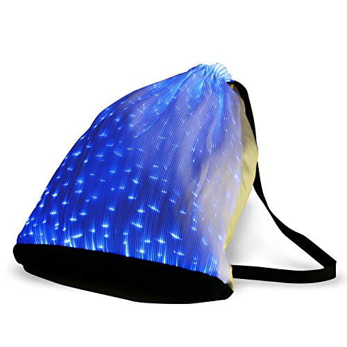 Price comparison product image 6 Color Glowing LED Light up Backpack USB Rechargeable Luminous Drawstring Bag for Christmas Festival Party Rave Shows