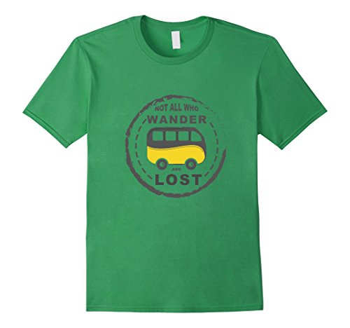 Mens Campervan T Shirt Not All Who Wander Are Lost Large Grass