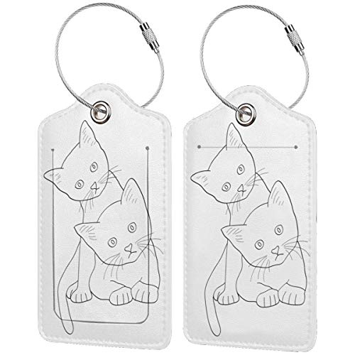 White Cats Leather Travel Luggage Tags Luggage ID Tags Carry-On Cards Set Of 1.2.4.Pcs