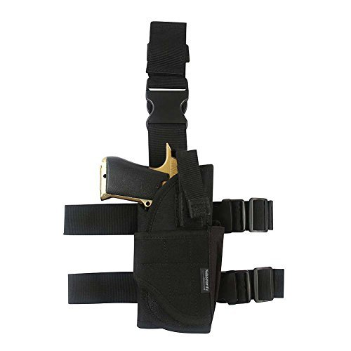 Adjustable Leg Holster ,Black Tactical Thigh Holster for pistols with Magazine ()