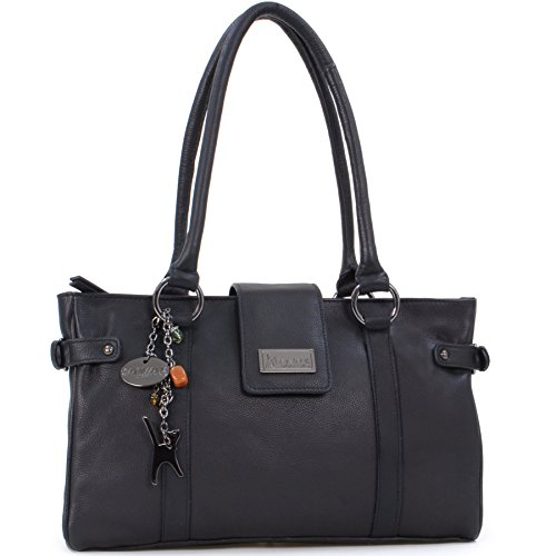 Catwalk Collection Handbags Borsa con manici, Donna Nero (Schwarz)