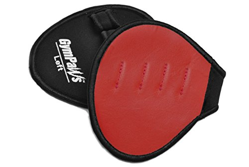 (Weight Lifting Pads Grips - Ideal for Gym Workout Weightlifting - Real Leather Slightly Padded Palm w Four Finger Loop Sweat Proof Backing)
