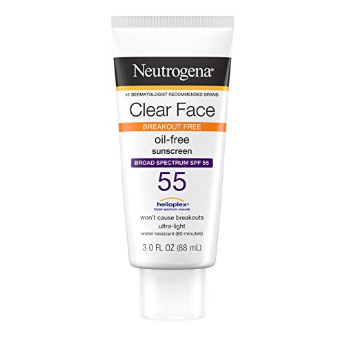 Neutrogena Clear Face Liquid Lotion Sunscreen for Acne-Prone Skin, Broad Spectrum SPF 55, Oil-Free and Fragrance-Free, 3 fl. oz (Best Sunblock For Face Under Makeup)