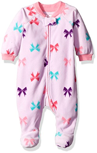 The Children's Place Girls' Printed Blanket Sleeper, Bow/Lilac Haze, 9-12 - Sleepers Fleece Infant