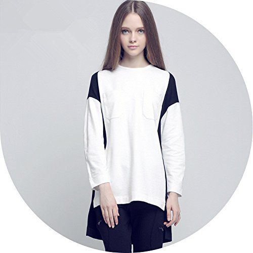 YLSZ-New women's fashion in Europe and America, black and white color, irregular color, women's long, long sleeved,white,S by YLSZ-Women's clothing
