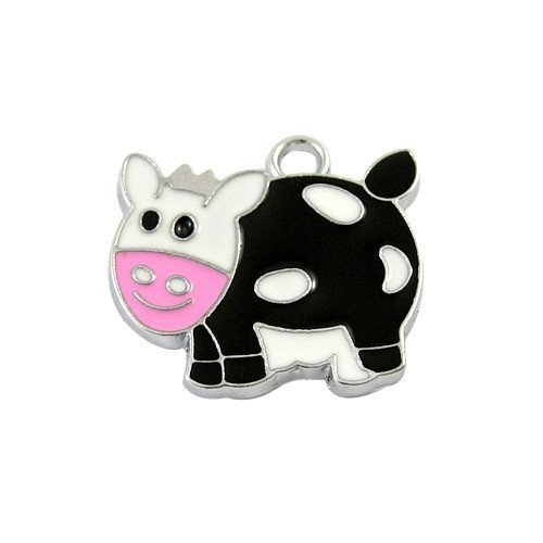 Pack of 5 x Black/White Enamel & Alloy 24mm Charms (Cow) - (HA08230) - Charming Beads