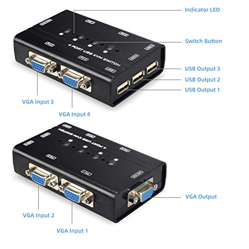 Scanner Keyboard USB VGA KVM Switch with 4 Cables Mouse 4 Port Selector Switcher for 4PC Sharing One Video Monitor and 3 USB Devices Printer