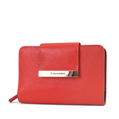 Tahari Hold on Small Womens Wallet RFID Blocking Compact Clutch Organizer Vegan Leather (Leather Indexer Wallet)