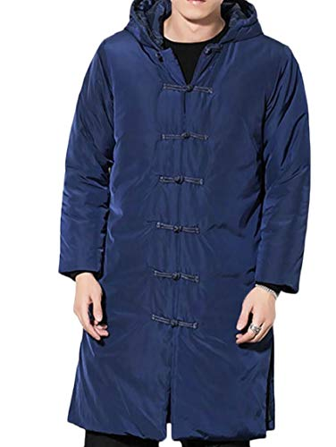 Navy Hoodies Blue Coat Warm Frog Padded Men's Long Button Winter Jacket Quilted Gocgt 6ZFxqPwn
